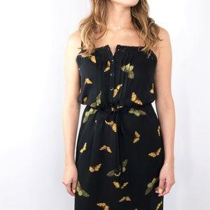 KENSIE Butterfly Black Maxi Dress Small